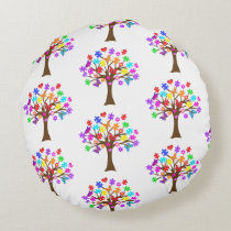 Autism Awareness Tree Round Pillow