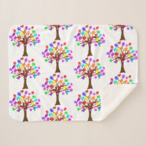 Autism Awareness Tree Sherpa Blanket