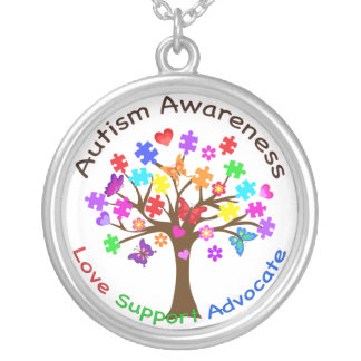 Autism Awareness Tree Silver Plated Necklace