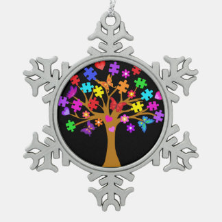 Autism Awareness Tree Snowflake Pewter Christmas Ornament