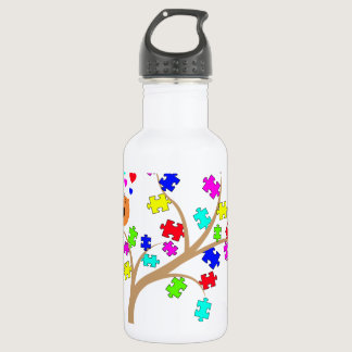 Autism awareness tree stainless steel water bottle