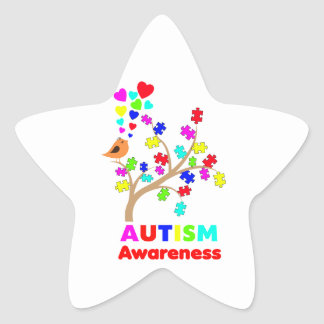 Autism awareness tree star stickers