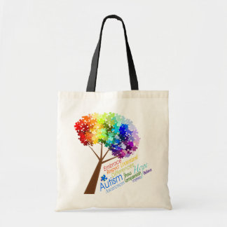 Autism Awareness Tree with Words Canvas Bags