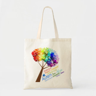 Autism Awareness Tree with Words Tote Bag