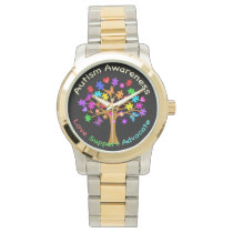 Autism Awareness Tree Wristwatch