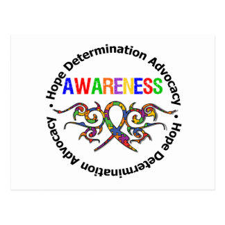 Autism Awareness Tribal Ribbon Post Card