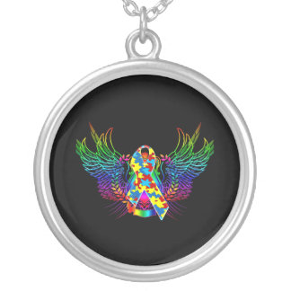 Autism Awareness Tribal Silver Plated Necklace