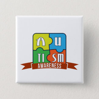 Autism Awareness Typography Graphics Button