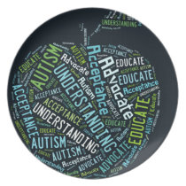 Autism Awareness Umbrella Products Dark Dinner Plate