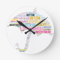 Autism Awareness Umbrella Products Round Clock