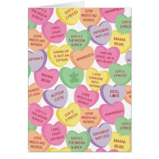 Autism Awareness Valentine Heart Candy Sayings Card