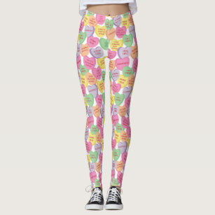 Women S Valentines Day Candy Hearts Leggings Zazzle