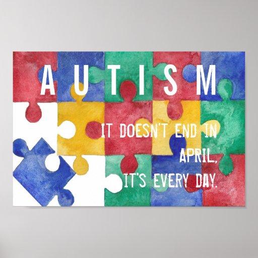 Autism Awareness Art Posters Framed Artwork: Autism Awareness Watercolor Poster