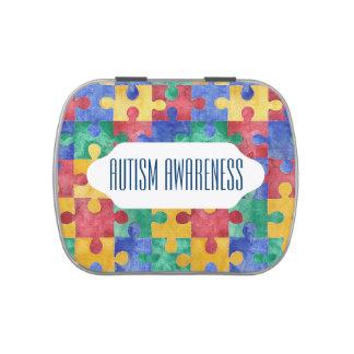 Autism Awareness watercolor puzzle candy tin