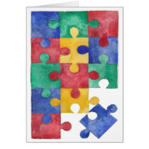Autism Awareness watercolor puzzle Card