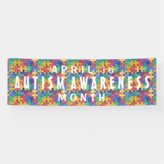 Autism Awareness watercolor puzzle custom banner