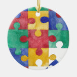 Autism Awareness watercolor puzzle Double-Sided Ceramic Round Christmas Ornament