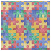 Autism Awareness watercolor puzzle fabric