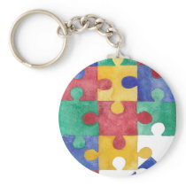 Autism Awareness watercolor puzzle Keychain