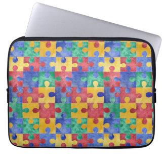 Autism Awareness watercolor puzzle laptop sleeve