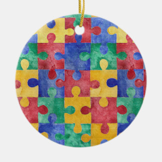 Autism Awareness watercolor puzzle ornament