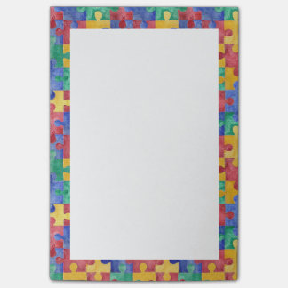 Autism Awareness watercolor puzzle Post-it notes