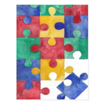 Autism Awareness watercolor puzzle postcard