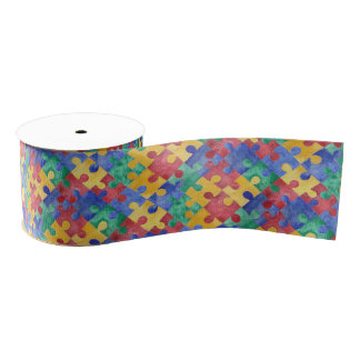 Autism Awareness watercolor puzzle ribbon