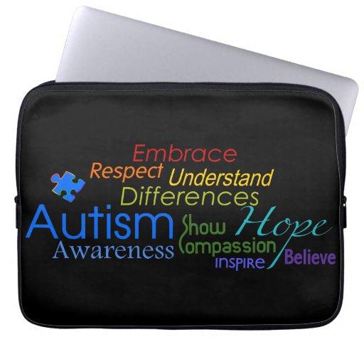 Autism Awareness Word Art Laptop Sleeves