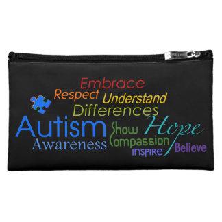 Autism Awareness Words and Puzzle Ribbon Design Makeup Bags