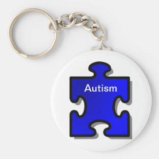 Autism Awarenss, Blue puzzle piece, Autistic item Basic Round Button Keychain