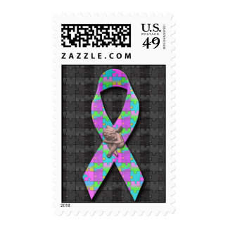 Autism Awarness Angel Puzzle Pieces Ribbon Cause Postage Stamps