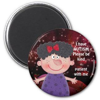 AUTISM AWARNESS LAPEL Sweet Girl Burgunde Magnet