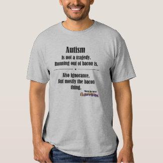 autism bacon tragedy light front logo t shirts