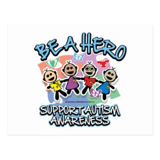 Autism Be A Hero Postcard
