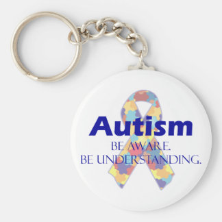 Autism be aware be understanding basic round button keychain