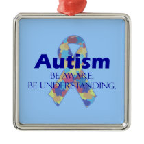 Autism be aware be understanding metal ornament