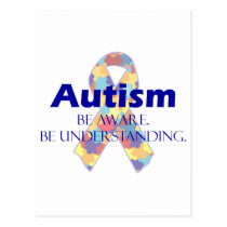 Autism be aware be understanding postcard