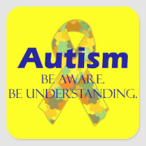 Autism be aware be understanding square sticker