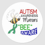 Autism BEE AWARE 1 Classic Round Sticker