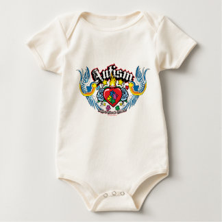 Autism Bird & Heart Baby Bodysuit
