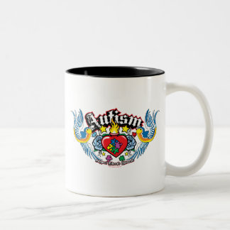 Autism Bird & Heart Two-Tone Coffee Mug
