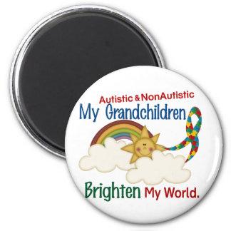Autism BRIGHTEN MY WORLD 1 Grandchildren 2 2 Inch Round Magnet