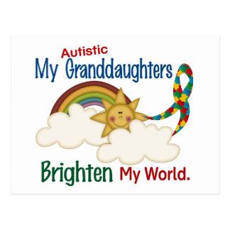 Autism BRIGHTEN MY WORLD 1 Granddaughters Postcard