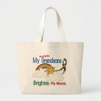 Autism BRIGHTEN MY WORLD 1 Grandsons Tote Bag