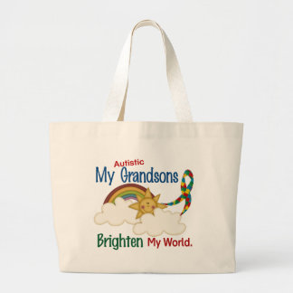Autism BRIGHTEN MY WORLD 1 Grandsons Large Tote Bag