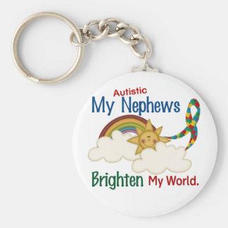 Autism BRIGHTEN MY WORLD 1 Nephews Basic Round Button Keychain