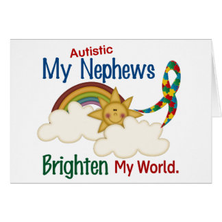 Autism BRIGHTEN MY WORLD 1 Nephews Cards