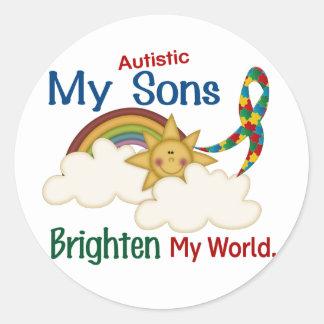 Autism BRIGHTEN MY WORLD 1 Sons Classic Round Sticker