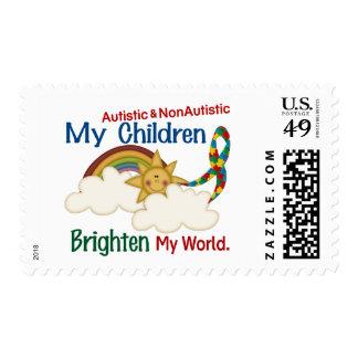 Autism BRIGHTENS MY WORLD 1 Children 2 Postage Stamp